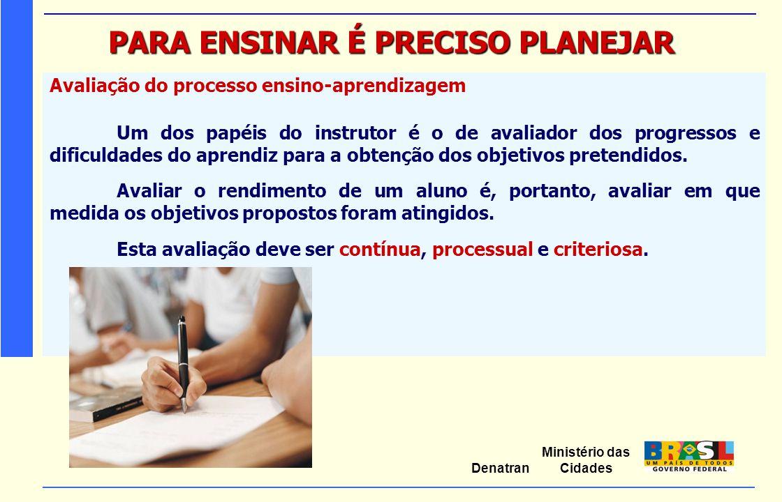 Ministério das Cidades Denatran PARA ENSINAR É PRECISO PLANEJAR Avaliação do processo ensino-aprendizagem Um dos papéis do instrutor é o de avaliador
