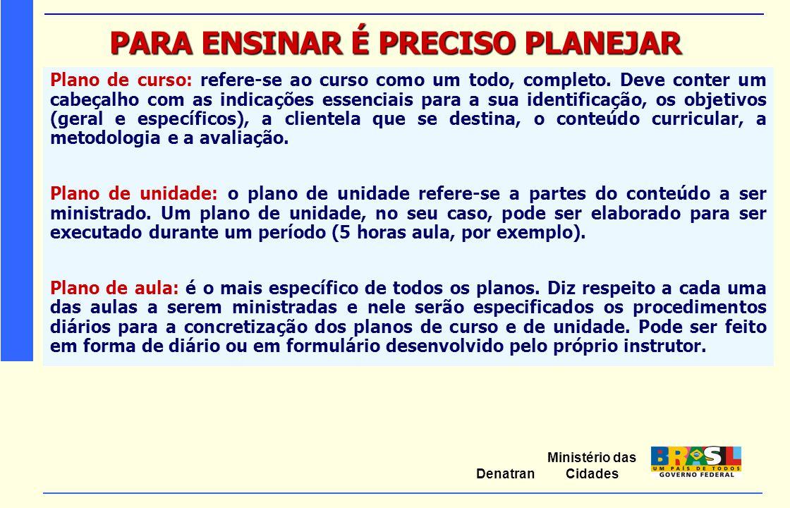Ministério das Cidades Denatran PARA ENSINAR É PRECISO PLANEJAR Plano de curso: refere-se ao curso como um todo, completo. Deve conter um cabeçalho co