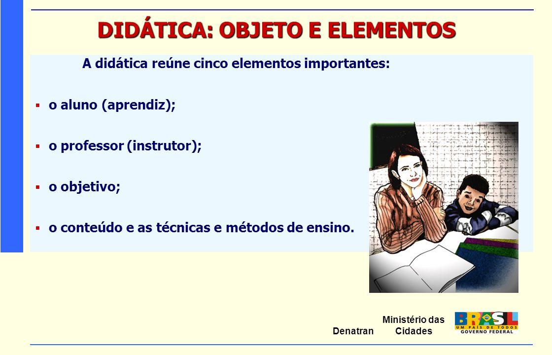 Ministério das Cidades Denatran DIDÁTICA: OBJETO E ELEMENTOS A didática reúne cinco elementos importantes:  o aluno (aprendiz);  o professor (instru