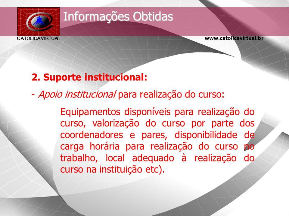 www.catolicavirtual.br CATÓLICA VIRTUAL Informações Obtidas 1. Perfil dos participantes: - Dados demográficos (sexo, idade, escolaridade etc); - Dados