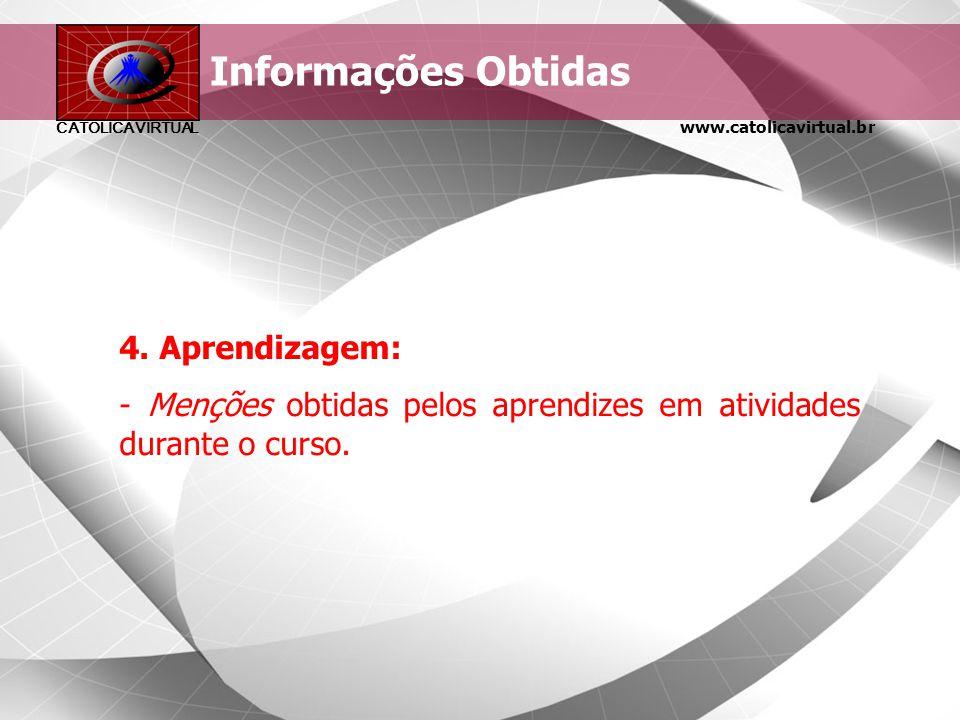 www.catolicavirtual.br CATÓLICA VIRTUAL Informações obtidas 3. Reação: - Satisfação dos participantes com: - a mídia utilizada para entrega do materia