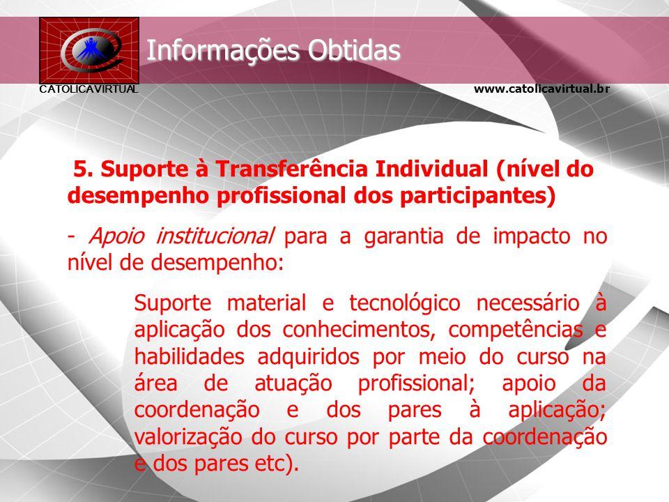 www.catolicavirtual.br CATÓLICA VIRTUAL Informações Obtidas 4. Aprendizagem: - Menções obtidas pelos aprendizes em atividades durante o curso.
