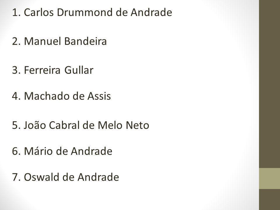 1.Carlos Drummond de Andrade 2. Manuel Bandeira 3.