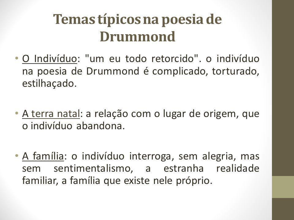 Temas típicos na poesia de Drummond O Indivíduo: um eu todo retorcido .