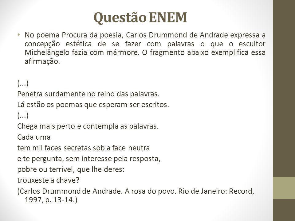 Questão ENEM No poema Procura da poesia, Carlos Drummond de Andrade expressa a concepção estética de se fazer com palavras o que o escultor Michelânge