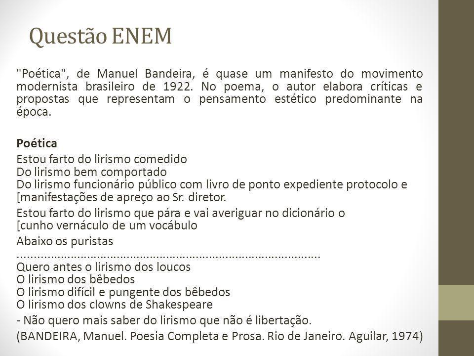 Questão ENEM Poética , de Manuel Bandeira, é quase um manifesto do movimento modernista brasileiro de 1922.