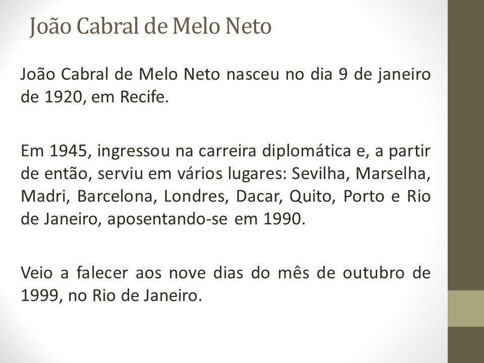João Cabral de Melo Neto João Cabral de Melo Neto nasceu no dia 9 de janeiro de 1920, em Recife. Em 1945, ingressou na carreira diplomática e, a parti