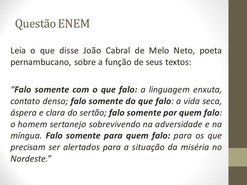 """Questão ENEM Leia o que disse João Cabral de Melo Neto, poeta pernambucano, sobre a função de seus textos: """"Falo somente com o que falo: a linguagem e"""