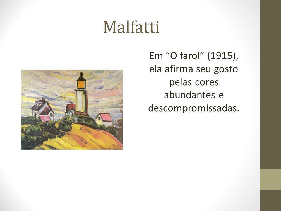"""Malfatti Em """"O farol"""" (1915), ela afirma seu gosto pelas cores abundantes e descompromissadas."""