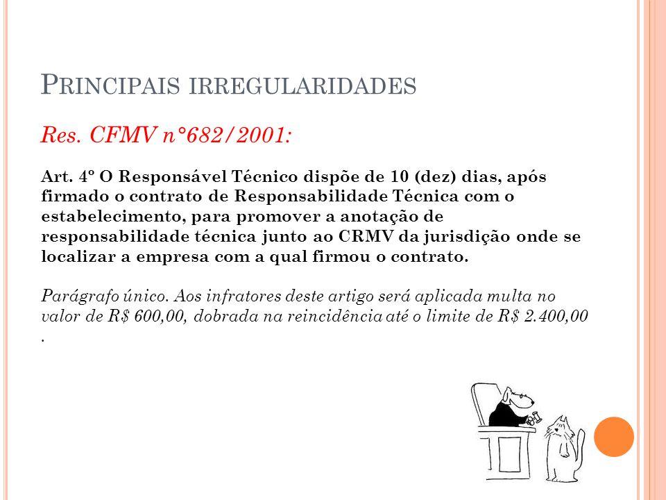 P RINCIPAIS IRREGULARIDADES Res. CFMV n°682/2001: Art. 4º O Responsável Técnico dispõe de 10 (dez) dias, após firmado o contrato de Responsabilidade T