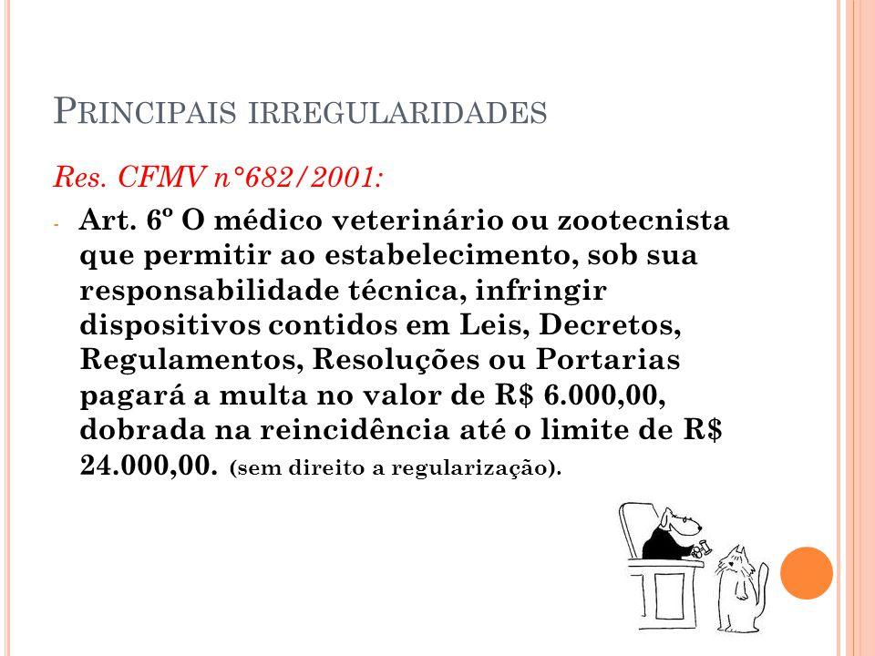 P RINCIPAIS IRREGULARIDADES Res. CFMV n°682/2001: - Art. 6º O médico veterinário ou zootecnista que permitir ao estabelecimento, sob sua responsabilid