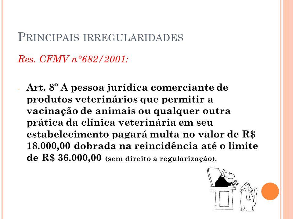 P RINCIPAIS IRREGULARIDADES Res. CFMV n°682/2001: - Art. 8º A pessoa jurídica comerciante de produtos veterinários que permitir a vacinação de animais