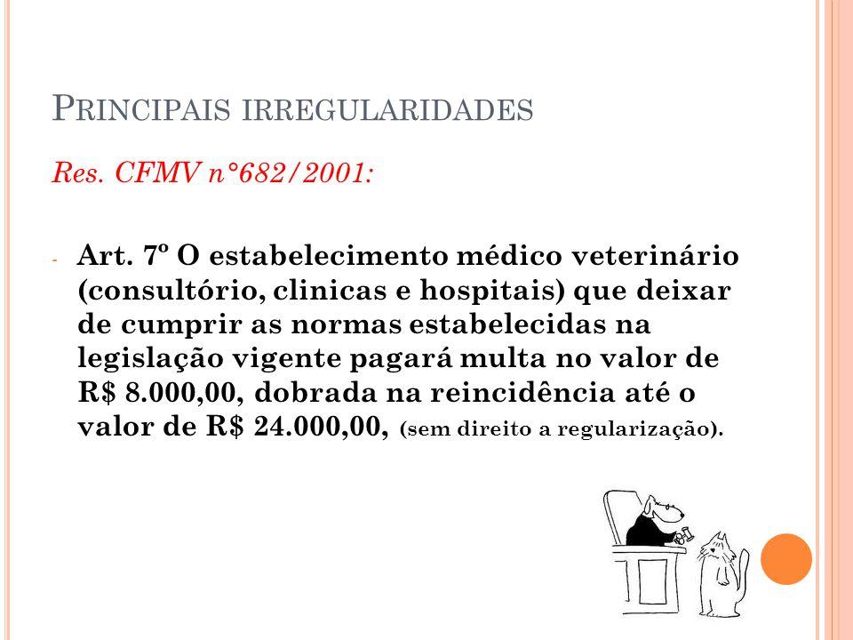 P RINCIPAIS IRREGULARIDADES Res. CFMV n°682/2001: - Art. 7º O estabelecimento médico veterinário (consultório, clinicas e hospitais) que deixar de cum