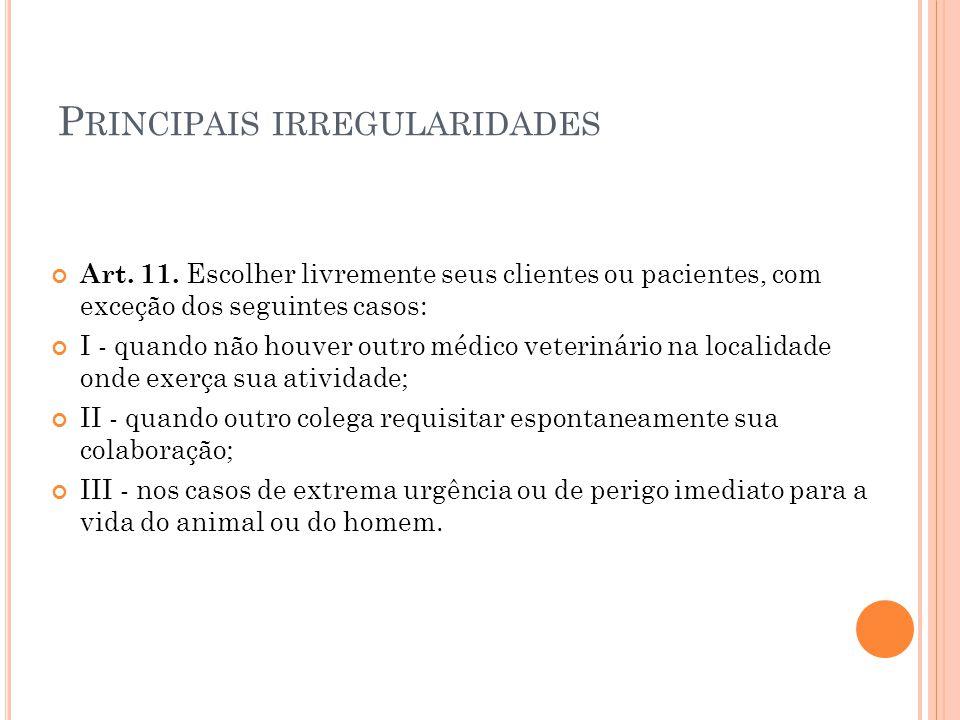 P RINCIPAIS IRREGULARIDADES Art. 11. Escolher livremente seus clientes ou pacientes, com exceção dos seguintes casos: I - quando não houver outro médi