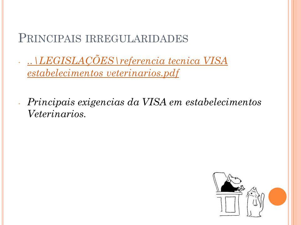 P RINCIPAIS IRREGULARIDADES -..\LEGISLAÇÕES\referencia tecnica VISA estabelecimentos veterinarios.pdf..\LEGISLAÇÕES\referencia tecnica VISA estabelecimentos veterinarios.pdf - Principais exigencias da VISA em estabelecimentos Veterinarios.