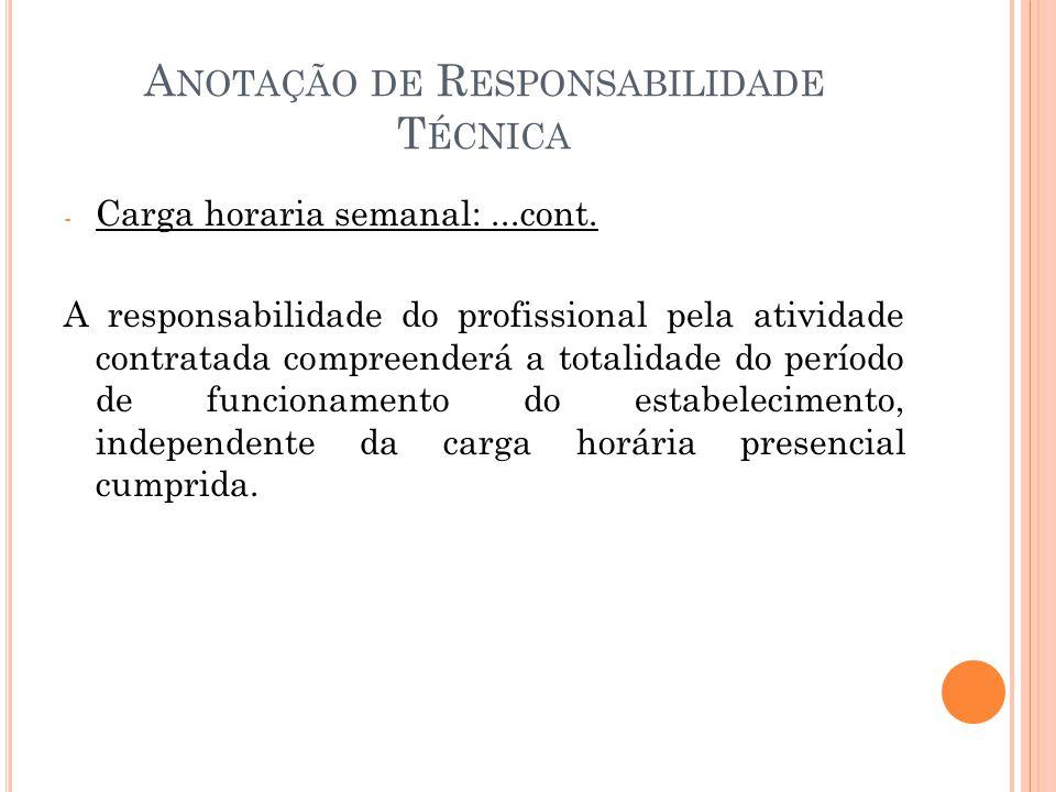 A NOTAÇÃO DE R ESPONSABILIDADE T ÉCNICA - Carga horaria semanal:...cont.
