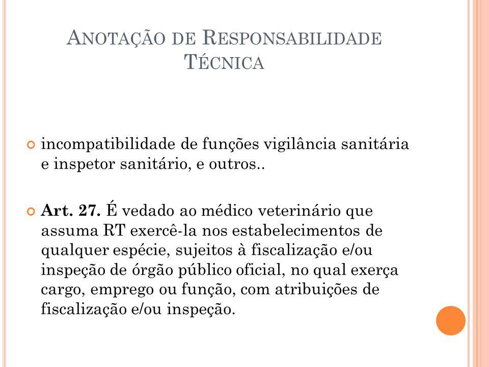 A NOTAÇÃO DE R ESPONSABILIDADE T ÉCNICA incompatibilidade de funções vigilância sanitária e inspetor sanitário, e outros.. Art. 27. É vedado ao médico