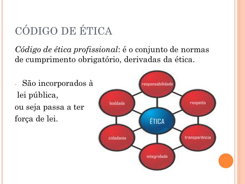 CÓDIGO DE ÉTICA Código de ética profissional : é o conjunto de normas de cumprimento obrigatório, derivadas da ética. - São incorporados à lei pública