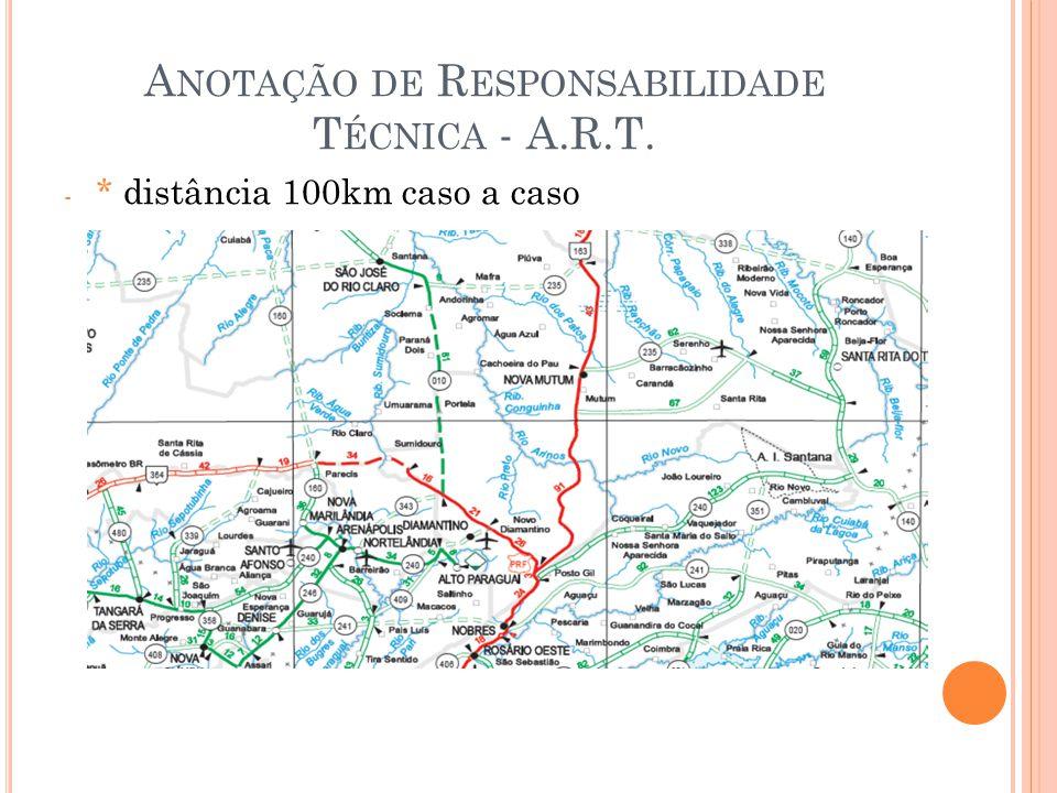 A NOTAÇÃO DE R ESPONSABILIDADE T ÉCNICA - A.R.T. - * distância 100km caso a caso
