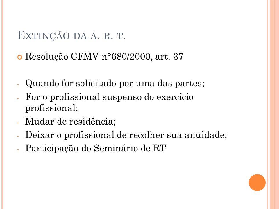 E XTINÇÃO DA A. R. T. Resolução CFMV n°680/2000, art. 37 - Quando for solicitado por uma das partes; - For o profissional suspenso do exercício profis