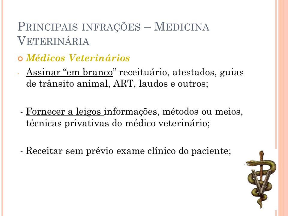 """P RINCIPAIS INFRAÇÕES – M EDICINA V ETERINÁRIA Médicos Veterinários - Assinar """"em branco"""" receituário, atestados, guias de trânsito animal, ART, laudo"""
