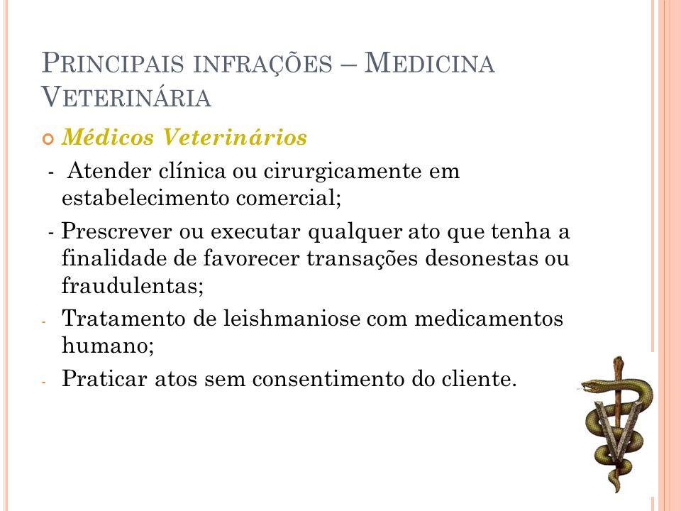 P RINCIPAIS INFRAÇÕES – M EDICINA V ETERINÁRIA Médicos Veterinários - Atender clínica ou cirurgicamente em estabelecimento comercial; - Prescrever ou