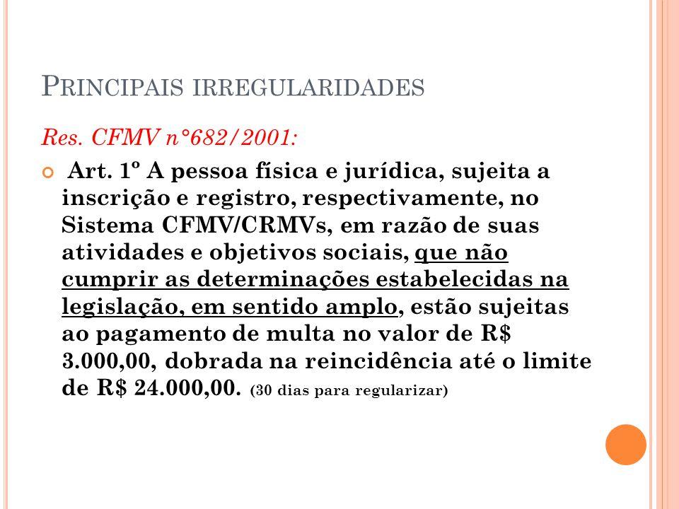 P RINCIPAIS IRREGULARIDADES Res. CFMV n°682/2001: Art. 1º A pessoa física e jurídica, sujeita a inscrição e registro, respectivamente, no Sistema CFMV