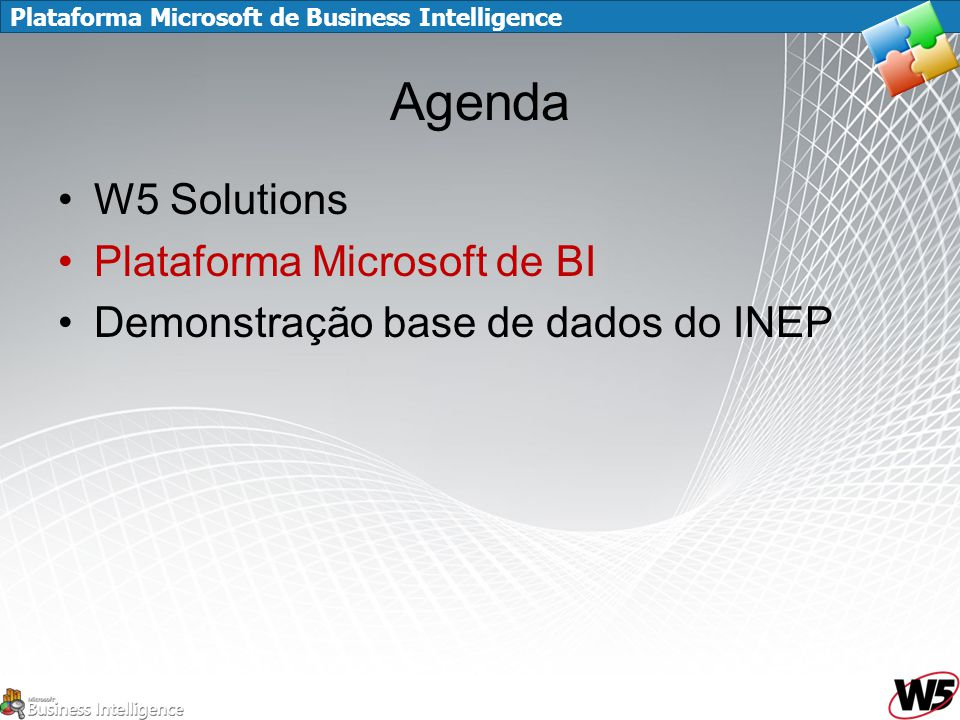 Plataforma Microsoft de Business Intelligence Agenda W5 Solutions Plataforma Microsoft de BI Demonstração base de dados do INEP