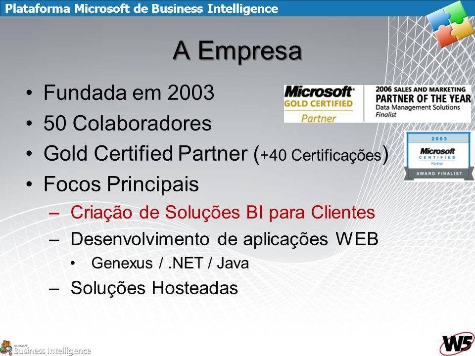 Plataforma Microsoft de Business Intelligence A Empresa Fundada em 2003 50 Colaboradores Gold Certified Partner ( +40 Certificações ) Focos Principais