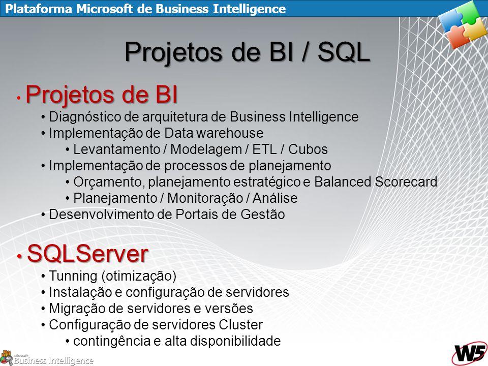 Plataforma Microsoft de Business Intelligence Projetos de BI / SQL Projetos de BI Diagnóstico de arquitetura de Business Intelligence Implementação de Data warehouse Levantamento / Modelagem / ETL / Cubos Implementação de processos de planejamento Orçamento, planejamento estratégico e Balanced Scorecard Planejamento / Monitoração / Análise Desenvolvimento de Portais de Gestão SQLServer SQLServer Tunning (otimização) Instalação e configuração de servidores Migração de servidores e versões Configuração de servidores Cluster contingência e alta disponibilidade