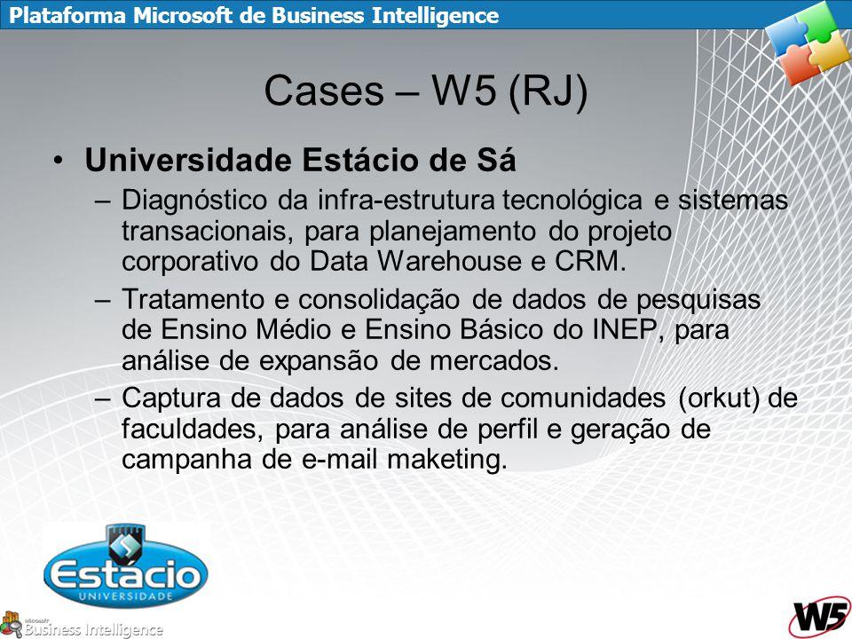 Plataforma Microsoft de Business Intelligence Cases – W5 (RJ) Universidade Estácio de Sá –Diagnóstico da infra-estrutura tecnológica e sistemas transacionais, para planejamento do projeto corporativo do Data Warehouse e CRM.