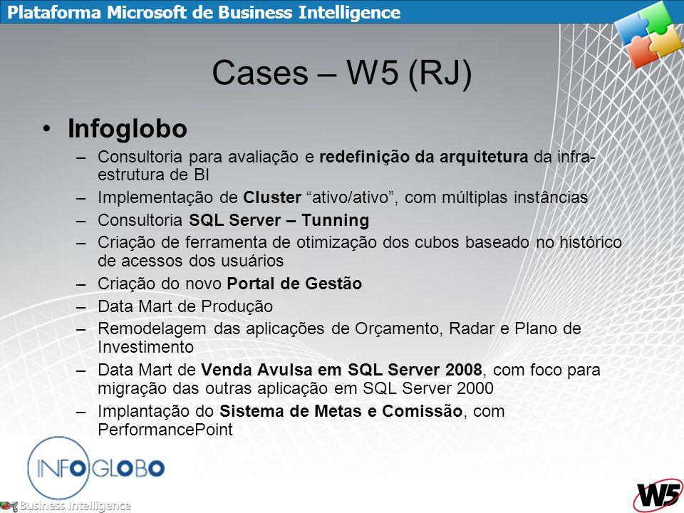 Plataforma Microsoft de Business Intelligence Cases – W5 (RJ) Infoglobo –Consultoria para avaliação e redefinição da arquitetura da infra- estrutura d