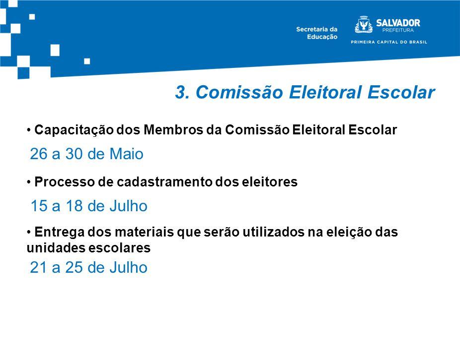 3. Comissão Eleitoral Escolar Capacitação dos Membros da Comissão Eleitoral Escolar 26 a 30 de Maio Processo de cadastramento dos eleitores 15 a 18 de