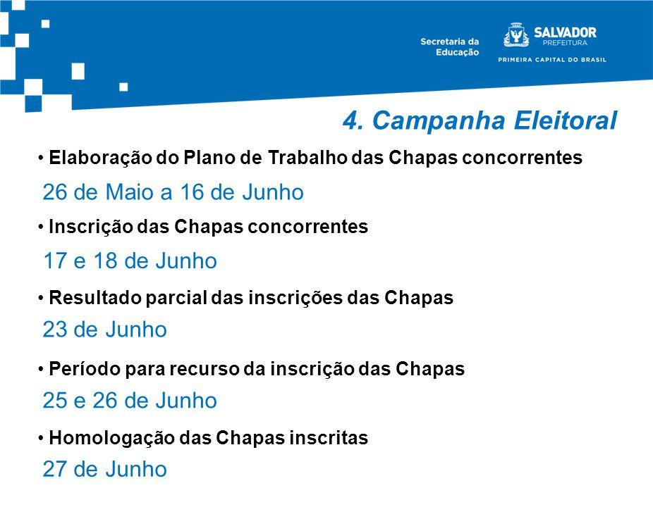 4. Campanha Eleitoral Elaboração do Plano de Trabalho das Chapas concorrentes 26 de Maio a 16 de Junho Inscrição das Chapas concorrentes 17 e 18 de Ju