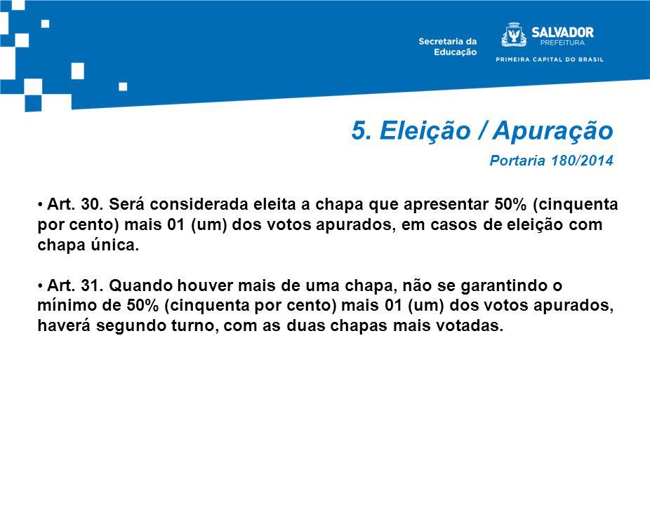 5.Eleição / Apuração Art. 30.