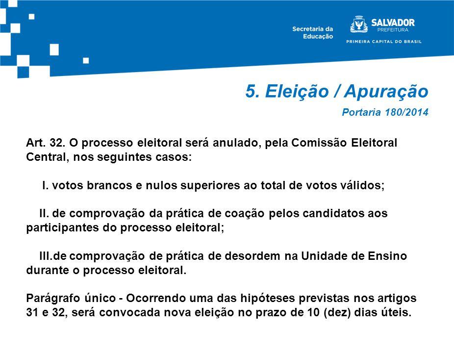 5. Eleição / Apuração Art. 32. O processo eleitoral será anulado, pela Comissão Eleitoral Central, nos seguintes casos: I. votos brancos e nulos super