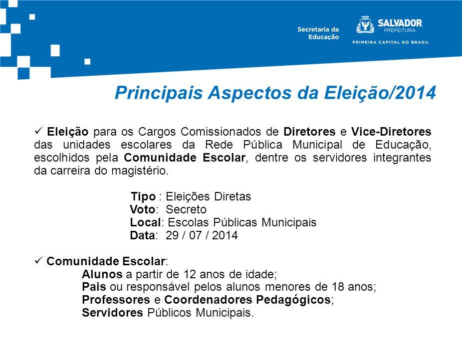 Principais Aspectos da Eleição/2014 DiretoresVice-Diretores Eleição para os Cargos Comissionados de Diretores e Vice-Diretores das unidades escolares