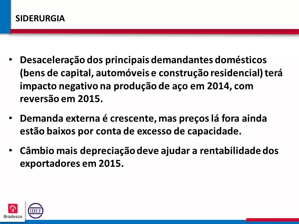 19 0 190190 190190 SIDERURGIA Desaceleração dos principais demandantes domésticos (bens de capital, automóveis e construção residencial) terá impacto negativo na produção de aço em 2014, com reversão em 2015.