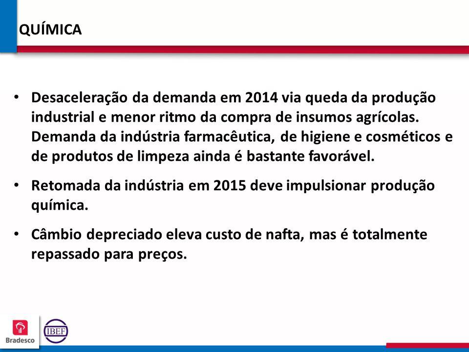 19 3 193193 193193 QUÍMICA Desaceleração da demanda em 2014 via queda da produção industrial e menor ritmo da compra de insumos agrícolas. Demanda da