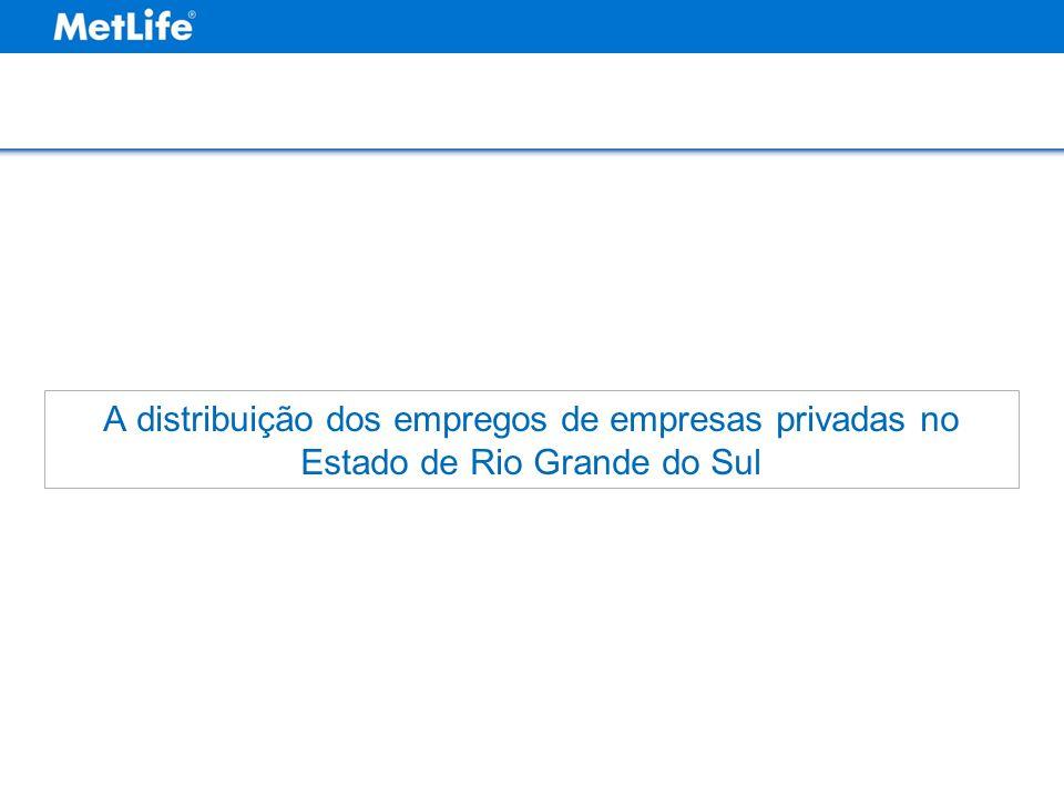 A distribuição dos empregos de empresas privadas no Estado de Rio Grande do Sul