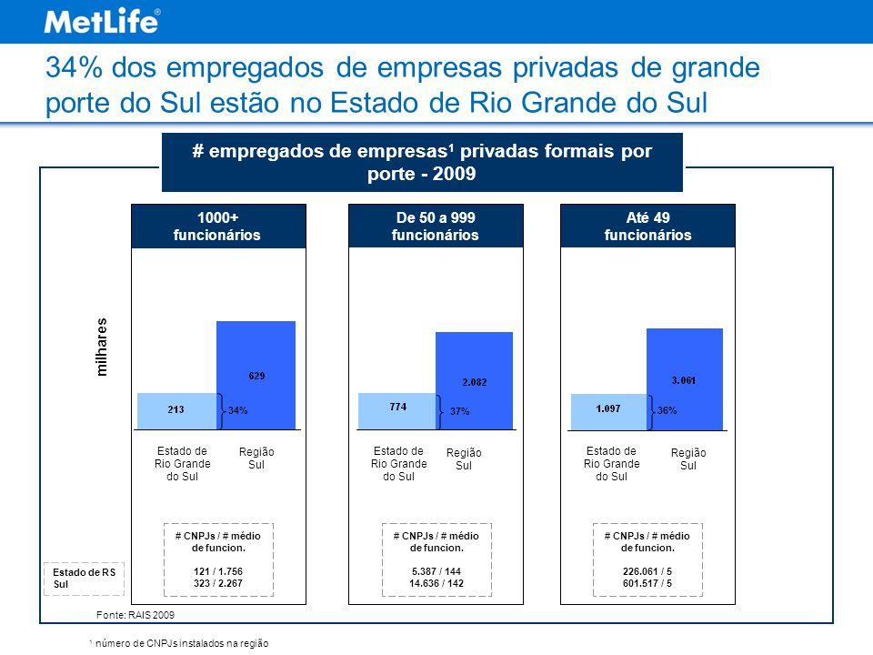 34% dos empregados de empresas privadas de grande porte do Sul estão no Estado de Rio Grande do Sul # empregados de empresas 1 privadas formais por po