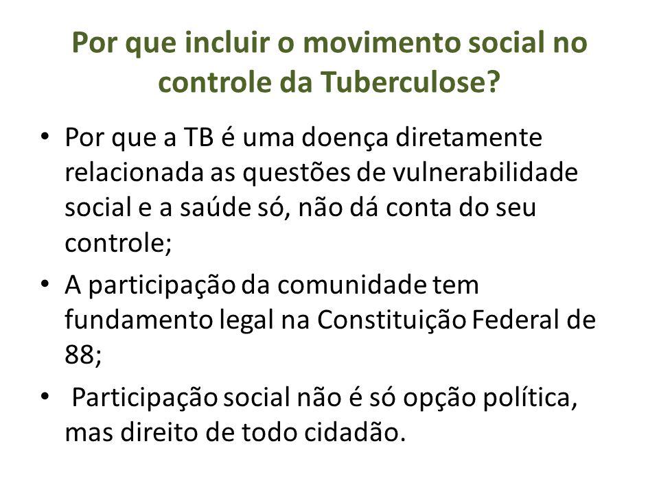 Por que incluir o movimento social no controle da Tuberculose? Por que a TB é uma doença diretamente relacionada as questões de vulnerabilidade social