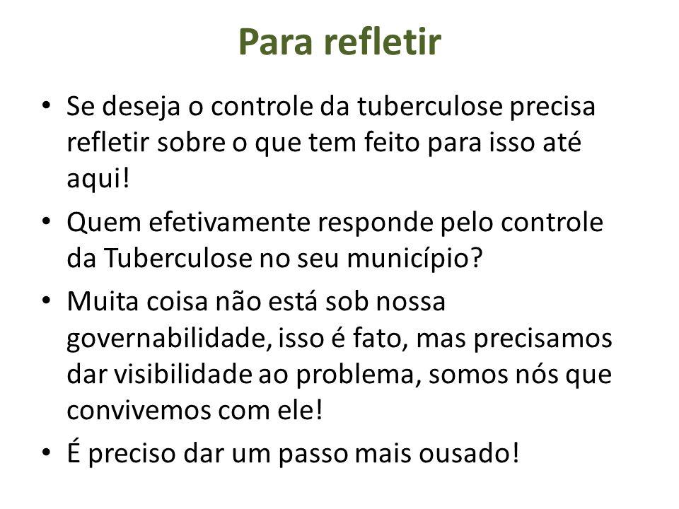 Para refletir Se deseja o controle da tuberculose precisa refletir sobre o que tem feito para isso até aqui! Quem efetivamente responde pelo controle