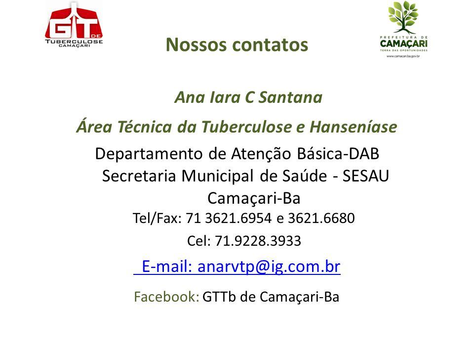 Nossos contatos Ana Iara C Santana Área Técnica da Tuberculose e Hanseníase Departamento de Atenção Básica-DAB Secretaria Municipal de Saúde - SESAU C