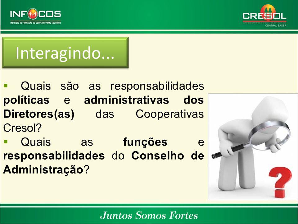 Interagindo...  Quais são as responsabilidades políticas e administrativas dos Diretores(as) das Cooperativas Cresol?  Quais as funções e responsabi