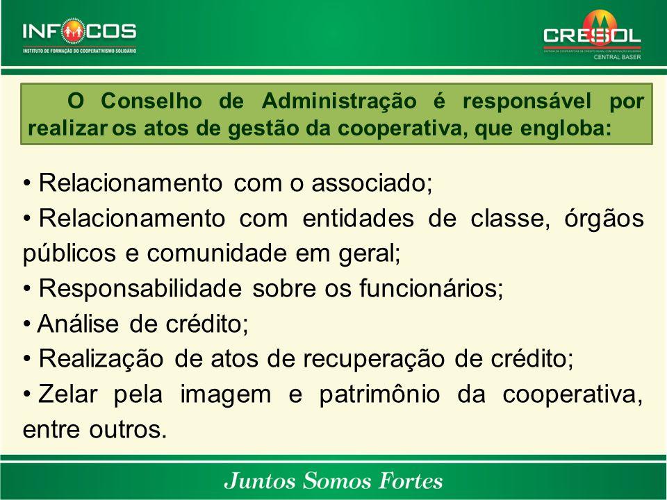 O Conselho de Administração é responsável por realizar os atos de gestão da cooperativa, que engloba: Relacionamento com o associado; Relacionamento c