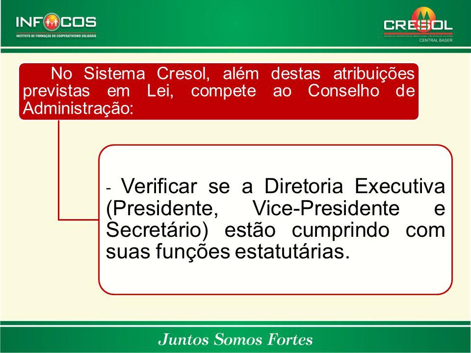 No Sistema Cresol, além destas atribuições previstas em Lei, compete ao Conselho de Administração: - Verificar se a Diretoria Executiva (Presidente, V