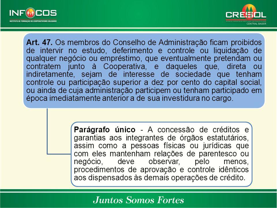 Art. 47. Os membros do Conselho de Administração ficam proibidos de intervir no estudo, deferimento e controle ou liquidação de qualquer negócio ou em