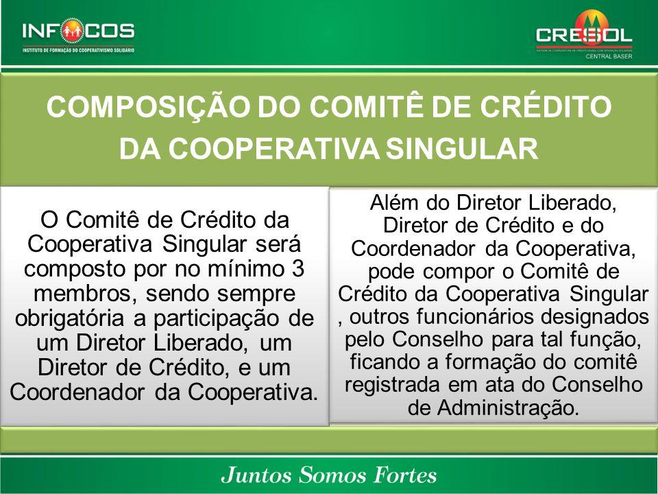 COMPOSIÇÃO DO COMITÊ DE CRÉDITO DA COOPERATIVA SINGULAR O Comitê de Crédito da Cooperativa Singular será composto por no mínimo 3 membros, sendo sempr