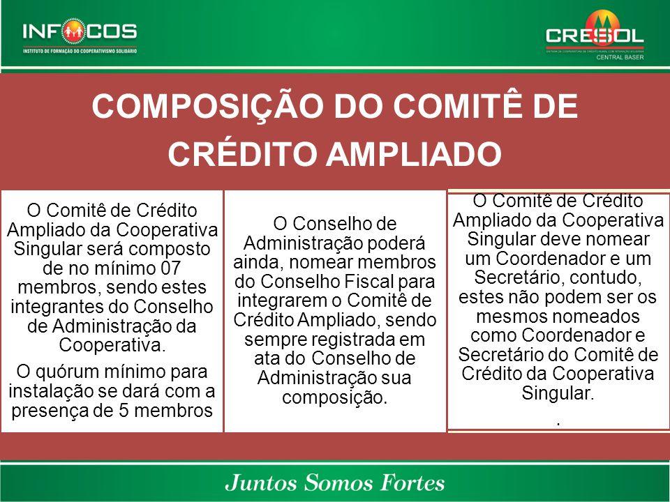 COMPOSIÇÃO DO COMITÊ DE CRÉDITO AMPLIADO O Comitê de Crédito Ampliado da Cooperativa Singular será composto de no mínimo 07 membros, sendo estes integ